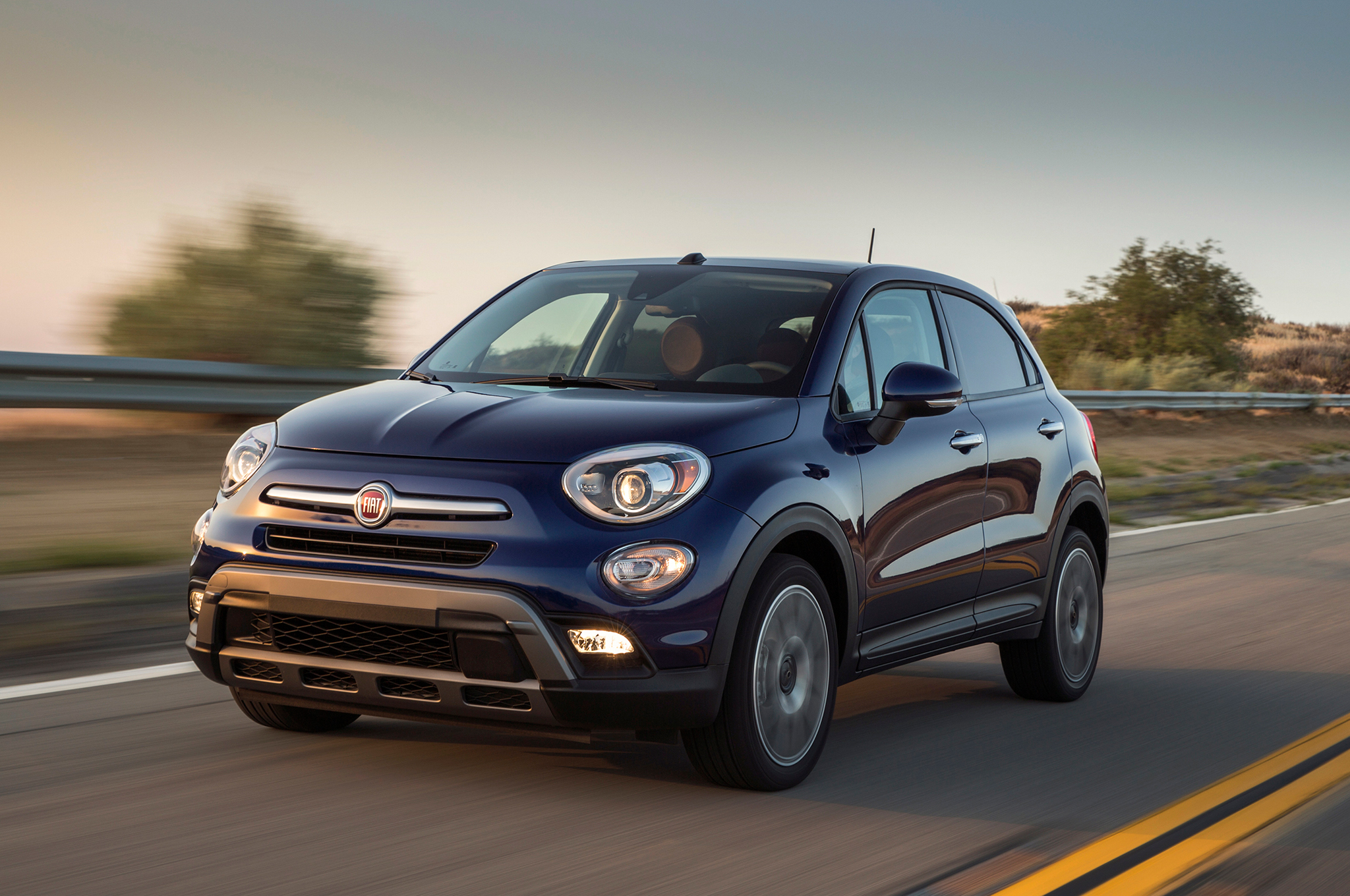 Fiat 500 X Blue Color Car On Road Full Uhd Wallpaper